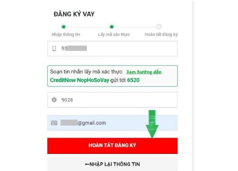 Nhập số điện thoại và mã xác thực để hoàn tất đăng ký