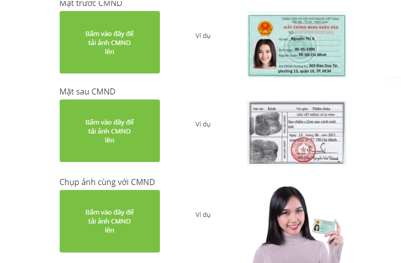 Xác nhận thông tin bằng ảnh CMND/CCCD