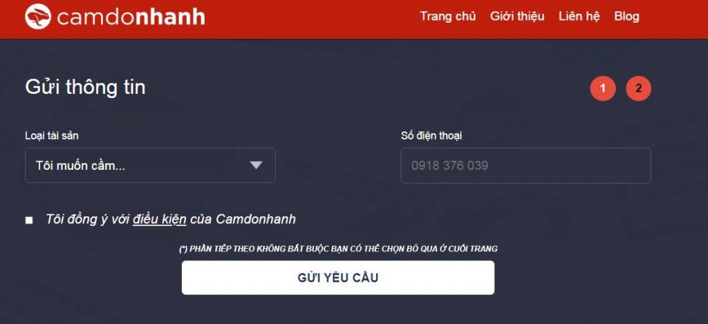 Bạn cần nhập sản phẩm cầm cố trước khi vay tiền tại Camdonhanh