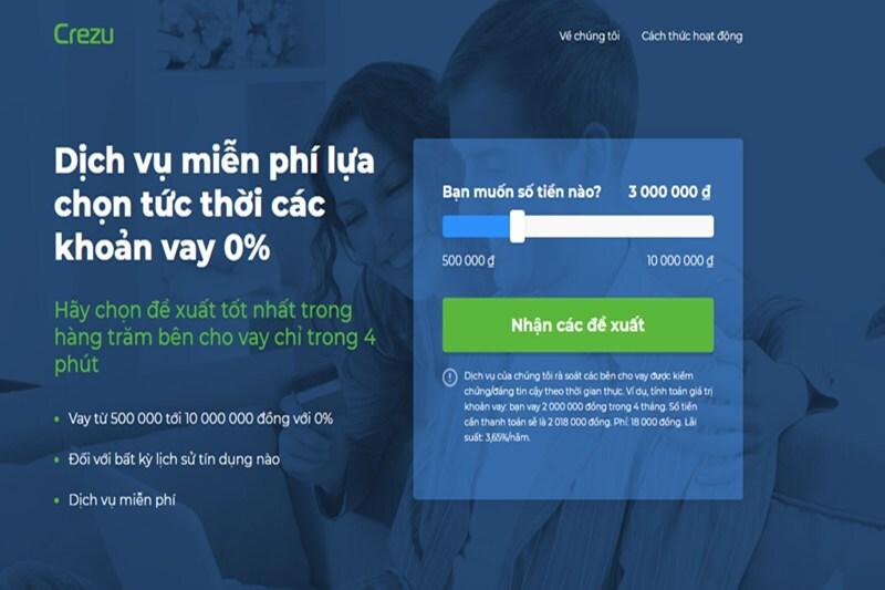 """Tại trang web chính thức của Crezu, bạn nhấn vào """"Nhận các đề xuất"""" để tiến hành đăng ký vay"""