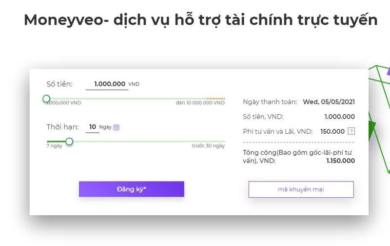 Bạn cần chọn số tiền vay và xác định hạn trả tại MoneyVeo