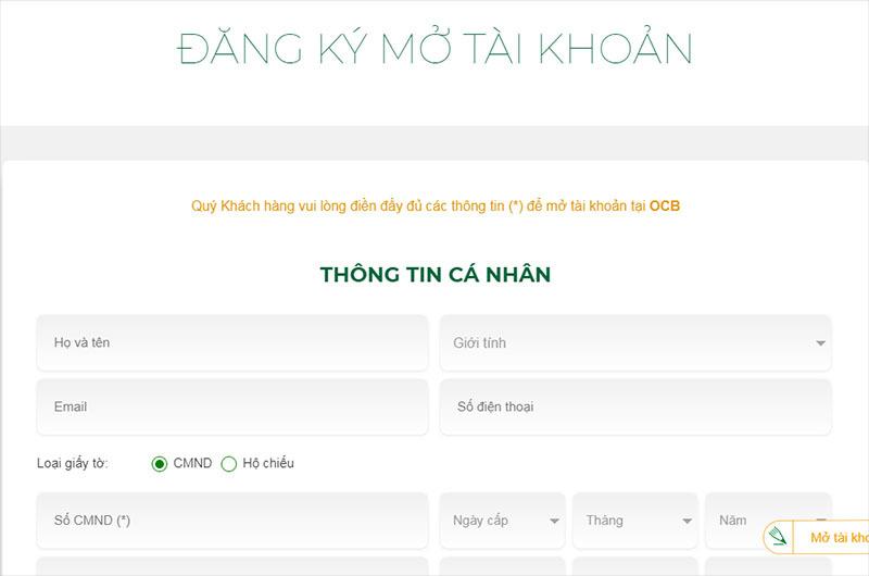 Điền thông tin đầy đủ theo mẫu để đăng ký mở tài khoản OCB Omni