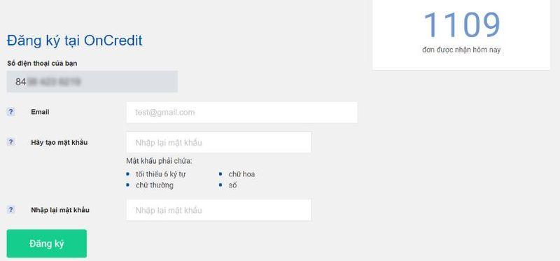 Nhập Email và tạo mật khẩu