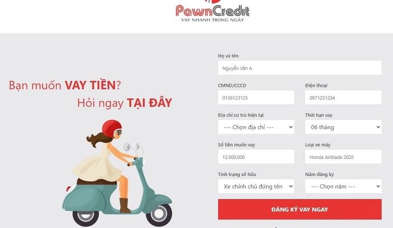 Bạn truy cập vào trang chủ website PawnCredit và điền thông tin theo mẫu