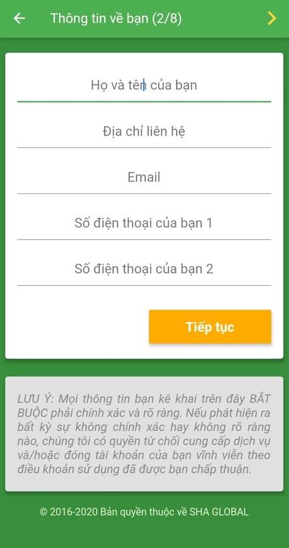 Bạn cần điền thông tin để tạo tài khoản vay trên app SHA