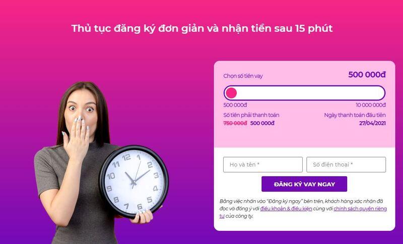 Truy cập Takomo.vn -> đăng ký khoản vay