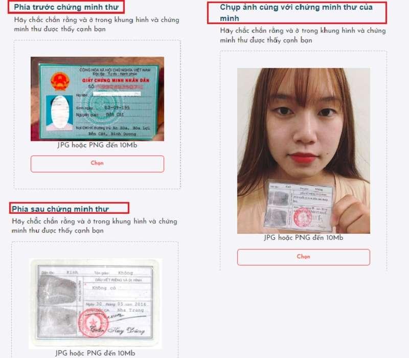 Tải ảnh CMND và ảnh chân dung cầm CMND lên Website