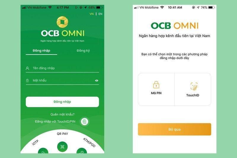 Đăng nhập trên app OCB Omni và vay tiền bằng sổ tiết kiệm online