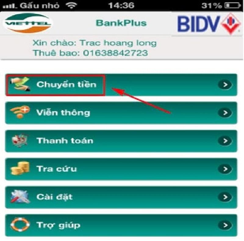 Khách hàng có thể thực hiện giao dịch chuyển tiền nhanh chóng qua dịch vụ Bankplus BIDV