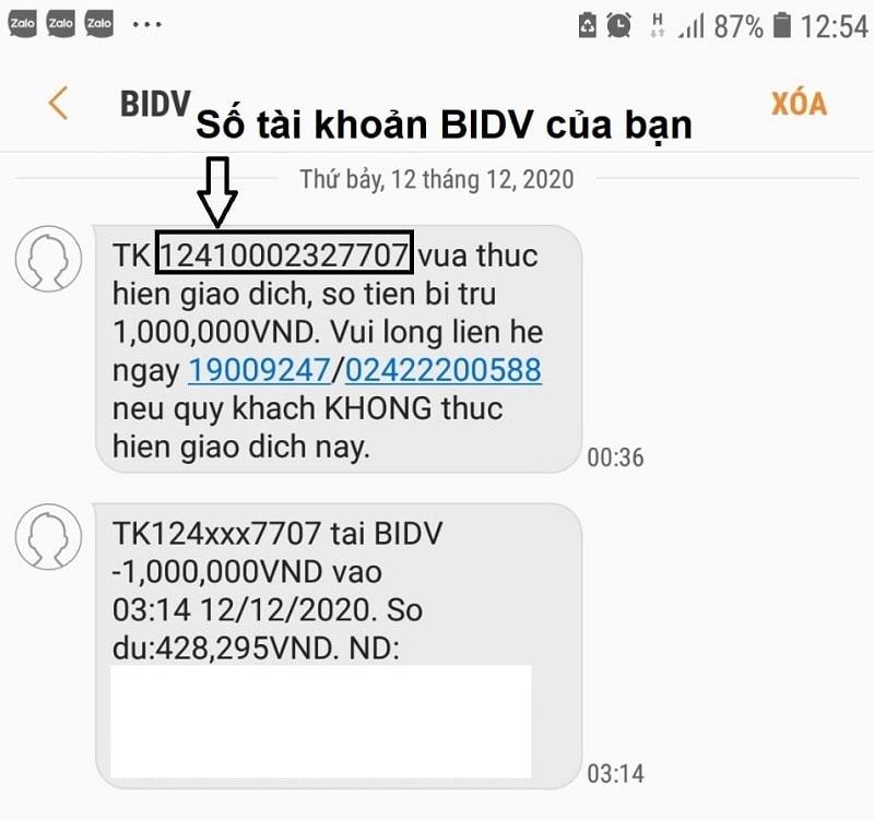 Số tài khoản BIDV là dãy gồm 14 chữ số