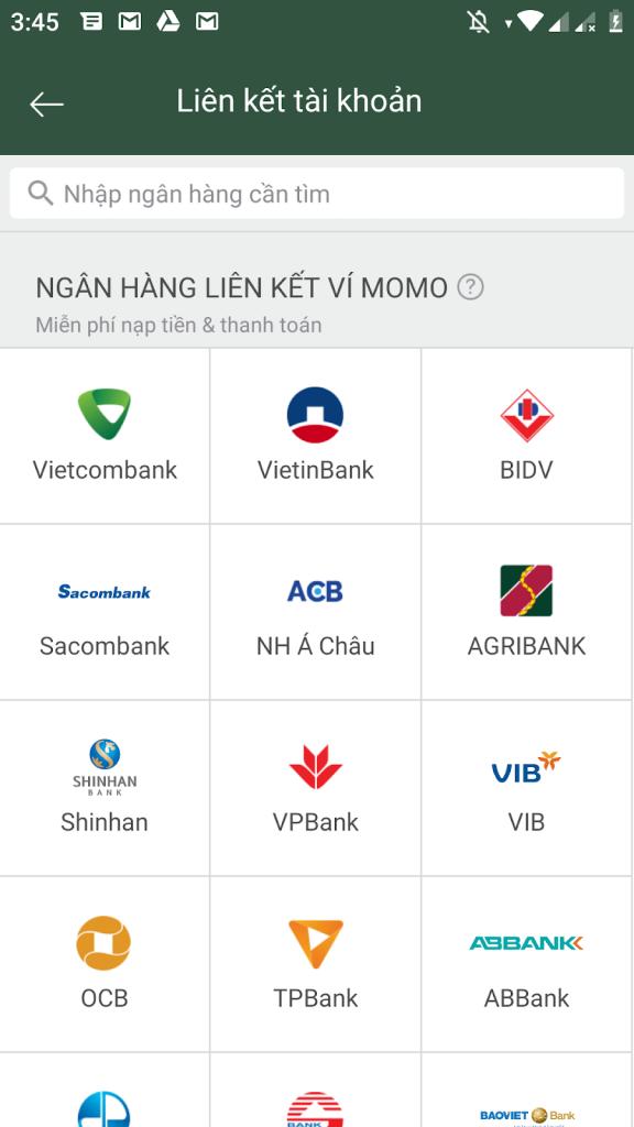 Để trải nghiệm những tính năng của Momo, bạn tiến hành liên kết ví với tài khoản ngân hàng